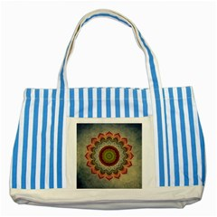 Folk Art Lotus Mandala Dirty Blue Red Striped Blue Tote Bag by EDDArt