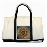 Folk Art Lotus Mandala Dirty Blue Red Two Tone Tote Bag