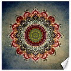 Folk Art Lotus Mandala Dirty Blue Red Canvas 12  X 12   by EDDArt