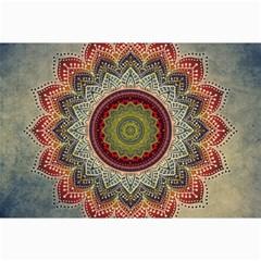 Folk Art Lotus Mandala Dirty Blue Red Canvas 20  X 30   by EDDArt