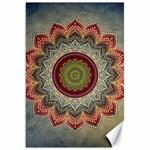 Folk Art Lotus Mandala Dirty Blue Red Canvas 20  x 30