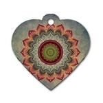 Folk Art Lotus Mandala Dirty Blue Red Dog Tag Heart (Two Sides)
