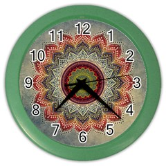 Folk Art Lotus Mandala Dirty Blue Red Color Wall Clocks by EDDArt