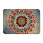 Folk Art Lotus Mandala Dirty Blue Red Small Doormat