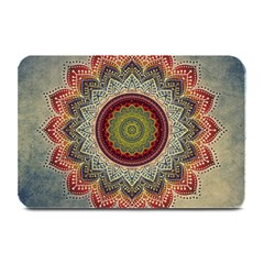 Folk Art Lotus Mandala Dirty Blue Red Plate Mats by EDDArt