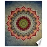 Folk Art Lotus Mandala Dirty Blue Red Canvas 11  x 14