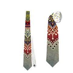 Folk Art Lotus Mandala Dirty Blue Red Neckties (two Side)  by EDDArt