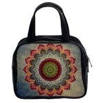 Folk Art Lotus Mandala Dirty Blue Red Classic Handbags (2 Sides)
