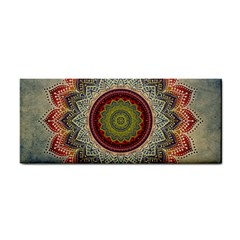 Folk Art Lotus Mandala Dirty Blue Red Hand Towel by EDDArt