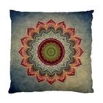 Folk Art Lotus Mandala Dirty Blue Red Standard Cushion Case (One Side)