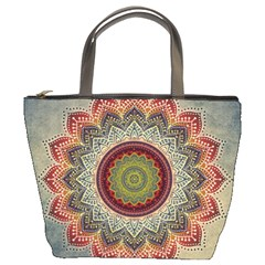 Folk Art Lotus Mandala Dirty Blue Red Bucket Bags by EDDArt