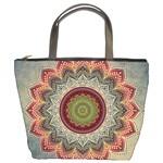 Folk Art Lotus Mandala Dirty Blue Red Bucket Bags