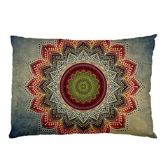 Folk Art Lotus Mandala Dirty Blue Red Pillow Case by EDDArt