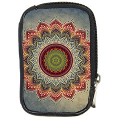 Folk Art Lotus Mandala Dirty Blue Red Compact Camera Cases by EDDArt