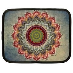 Folk Art Lotus Mandala Dirty Blue Red Netbook Case (xl)  by EDDArt