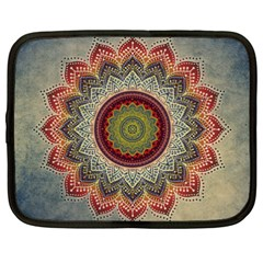 Folk Art Lotus Mandala Dirty Blue Red Netbook Case (xxl)  by EDDArt