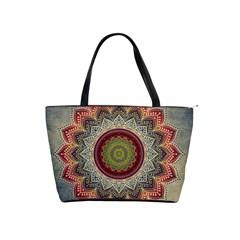Folk Art Lotus Mandala Dirty Blue Red Shoulder Handbags by EDDArt