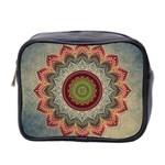 Folk Art Lotus Mandala Dirty Blue Red Mini Toiletries Bag 2-Side