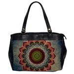 Folk Art Lotus Mandala Dirty Blue Red Office Handbags