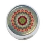Folk Art Lotus Mandala Dirty Blue Red 4-Port USB Hub (Two Sides)