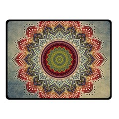 Folk Art Lotus Mandala Dirty Blue Red Fleece Blanket (small) by EDDArt