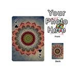 Folk Art Lotus Mandala Dirty Blue Red Playing Cards 54 (Mini)