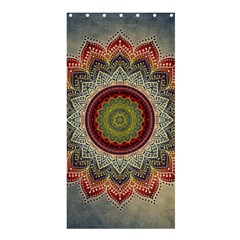 Folk Art Lotus Mandala Dirty Blue Red Shower Curtain 36  X 72  (stall)  by EDDArt