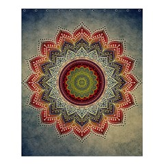 Folk Art Lotus Mandala Dirty Blue Red Shower Curtain 60  X 72  (medium)  by EDDArt
