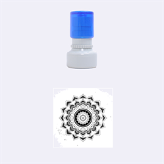 Folk Art Lotus Mandala Dirty Blue Red Rubber Round Stamps (small) by EDDArt