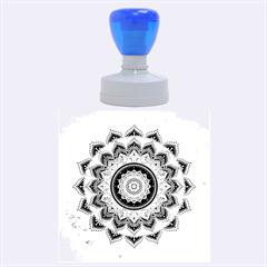 Folk Art Lotus Mandala Dirty Blue Red Rubber Round Stamps (large) by EDDArt