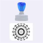 Folk Art Lotus Mandala Dirty Blue Red Rubber Oval Stamps