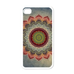Folk Art Lotus Mandala Dirty Blue Red Apple Iphone 4 Case (white) by EDDArt