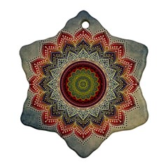 Folk Art Lotus Mandala Dirty Blue Red Snowflake Ornament (2 Side) by EDDArt