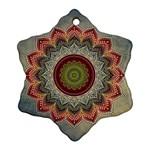 Folk Art Lotus Mandala Dirty Blue Red Snowflake Ornament (2-Side)