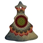 Folk Art Lotus Mandala Dirty Blue Red Christmas Tree Ornament (2 Sides)