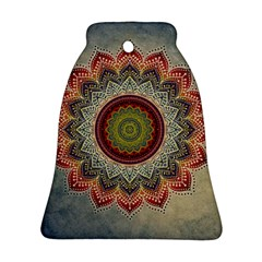 Folk Art Lotus Mandala Dirty Blue Red Bell Ornament (2 Sides) by EDDArt