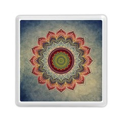 Folk Art Lotus Mandala Dirty Blue Red Memory Card Reader (square)  by EDDArt