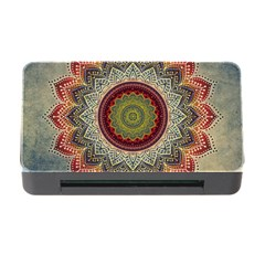 Folk Art Lotus Mandala Dirty Blue Red Memory Card Reader With Cf by EDDArt