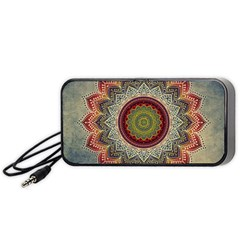 Folk Art Lotus Mandala Dirty Blue Red Portable Speaker (black)  by EDDArt