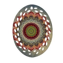 Folk Art Lotus Mandala Dirty Blue Red Oval Filigree Ornament (2 Side)  by EDDArt