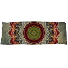 Folk Art Lotus Mandala Dirty Blue Red Body Pillow Case Dakimakura (two Sides) by EDDArt