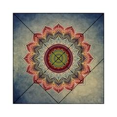 Folk Art Lotus Mandala Dirty Blue Red Acrylic Tangram Puzzle (6  X 6 ) by EDDArt