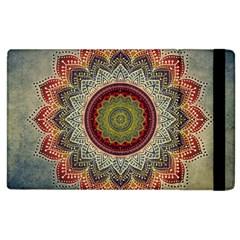 Folk Art Lotus Mandala Dirty Blue Red Apple Ipad 2 Flip Case by EDDArt