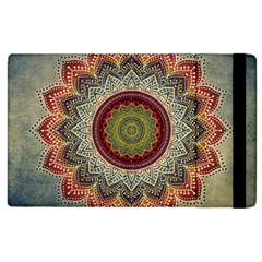 Folk Art Lotus Mandala Dirty Blue Red Apple Ipad 3/4 Flip Case by EDDArt