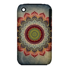 Folk Art Lotus Mandala Dirty Blue Red Apple Iphone 3g/3gs Hardshell Case (pc+silicone) by EDDArt