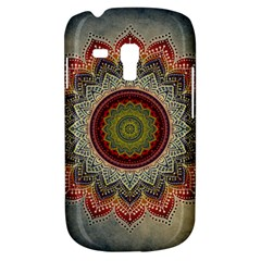 Folk Art Lotus Mandala Dirty Blue Red Samsung Galaxy S3 Mini I8190 Hardshell Case by EDDArt