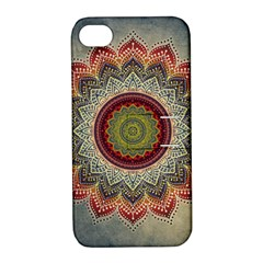 Folk Art Lotus Mandala Dirty Blue Red Apple Iphone 4/4s Hardshell Case With Stand by EDDArt