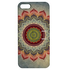 Folk Art Lotus Mandala Dirty Blue Red Apple Iphone 5 Hardshell Case With Stand by EDDArt