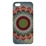 Folk Art Lotus Mandala Dirty Blue Red Apple iPhone 5 Premium Hardshell Case