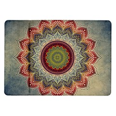 Folk Art Lotus Mandala Dirty Blue Red Samsung Galaxy Tab 10 1  P7500 Flip Case by EDDArt